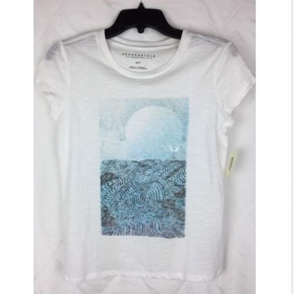 fb7617f49 Aeropostale Tops | White Blue Water Graphic Tshirt | Poshmark
